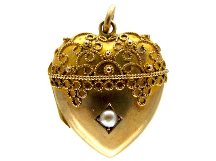 9ct Gold Etruscan Work Heart Locket