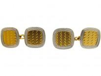 18ct Gold & Platinum Engine Turned Cufflinks