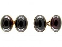 Cabochon Garnet Victorian Gold Cufflinks
