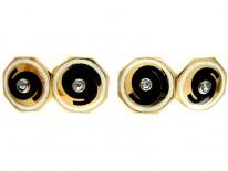 Black & White Enamel Art Deco 18ct Gold Cufflinks