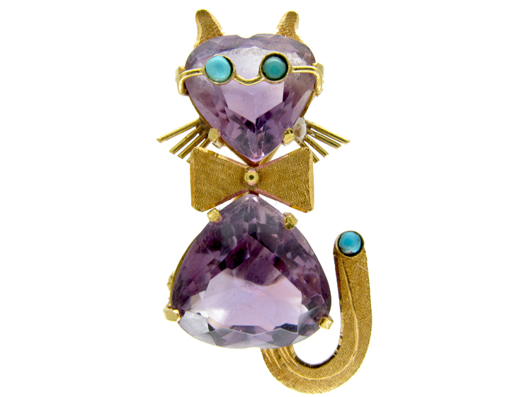 18ct Gold Cat Brooch