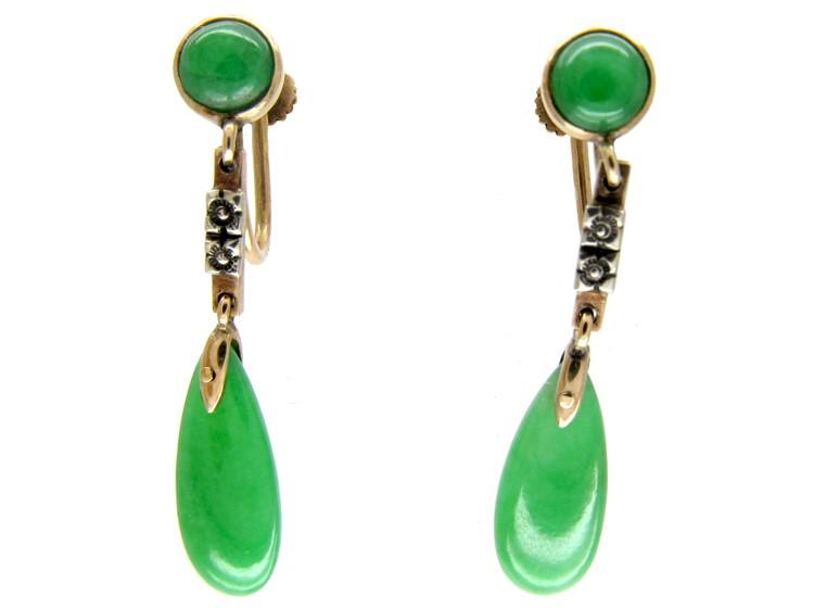 Jade Drop Gold Earrings