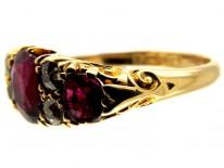 Burma Ruby & Diamond Half Hoop Victorian Ring