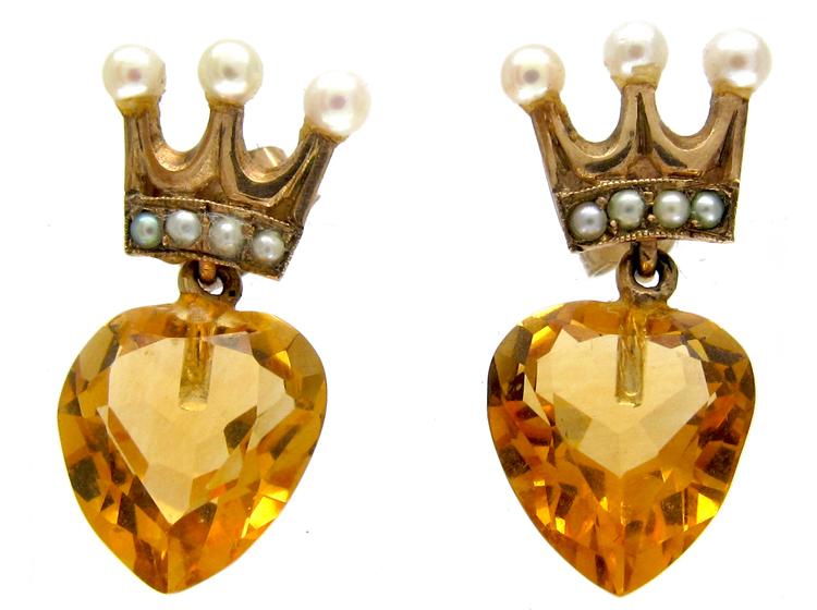 Heart Shape Citrine & Pearl Gold Earrings