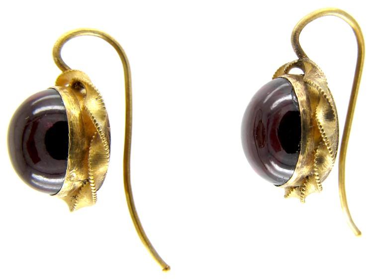 Victorian Gold & Cabochon Garnet Earrings