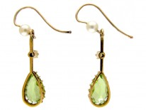 Peridot & Natural Pearl Drop Earrings