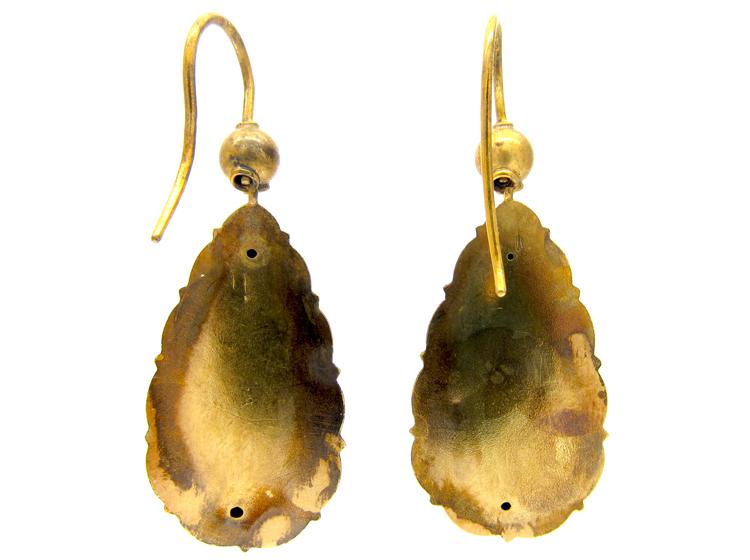 Victorian Drop 15ct Gold & Diamond Earrings