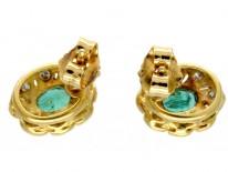 Oval Emerald & Diamond Cluster Earrings