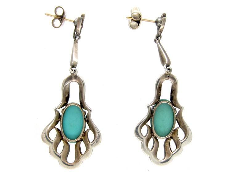 Art Deco Marcasite, Turquoise & Silver Drop Earrings