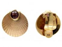 Scallop Shell Gold & Garnet Earrings