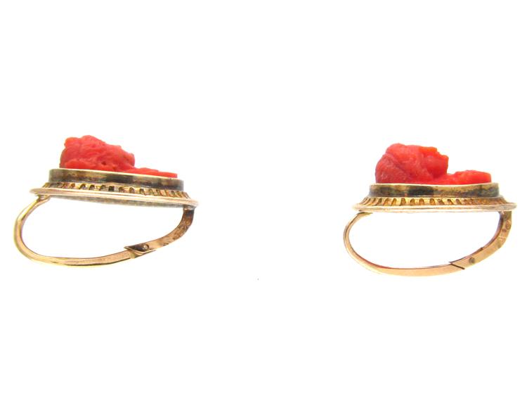 Coral Carved Cameo Regency Earrings