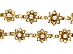 Victorian Natural Pearl Gold Bracelet