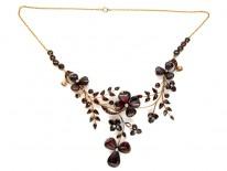 Carved Garnet & Diamond Art Nouveau Necklace
