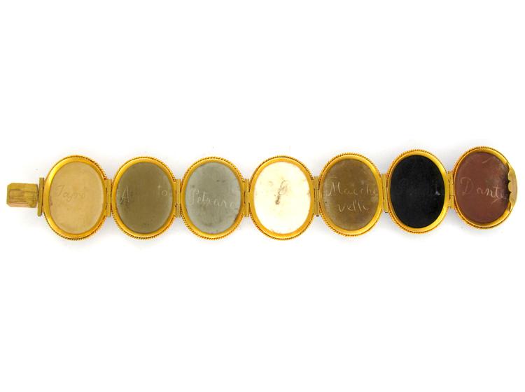 Carved Lava Gold Victorian Bracelet in Original Case