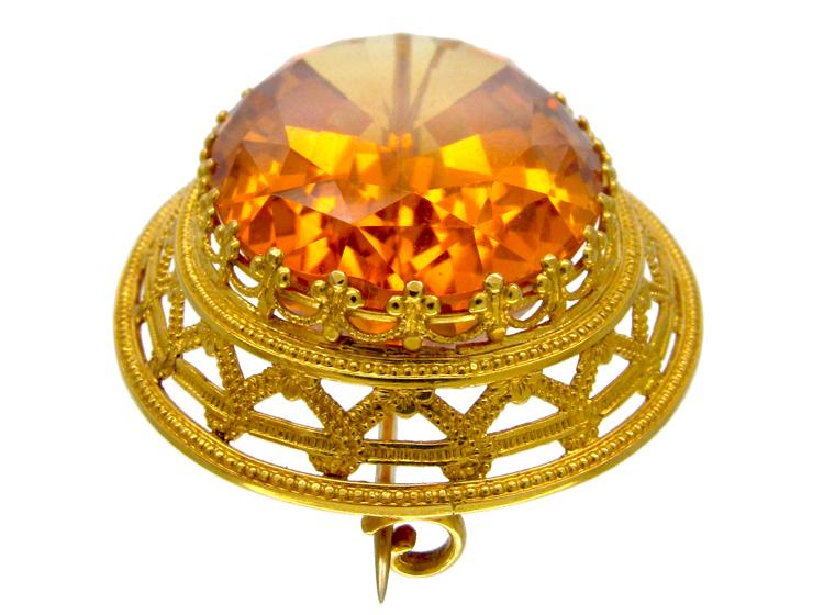 Victorian 18ct Gold & Citrine Brooch