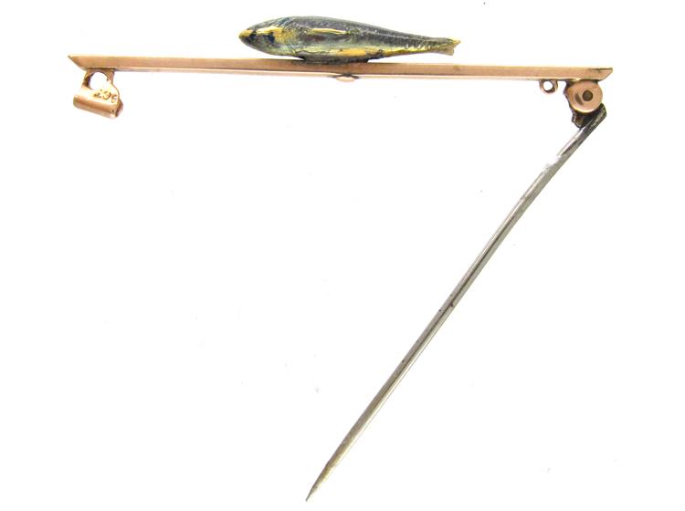 Enamel Trout 9ct Gold Brooch