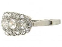 Diamond Boat Shape Cluster Ring