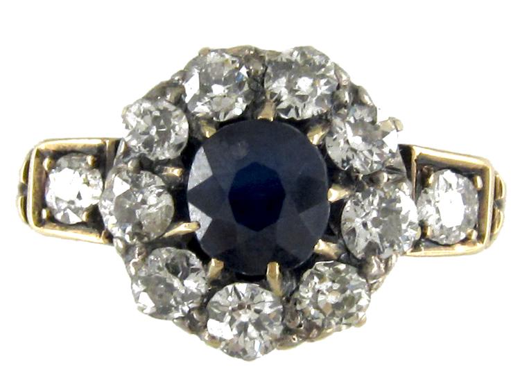 Sapphire & Diamond Cluster Edwardian Ring
