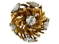 18ct Gold & Diamond Ring in The Shape of A Chrysanthemum