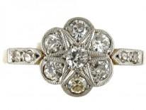 Diamond 18ct & Platinum Cluster Edwardian Ring