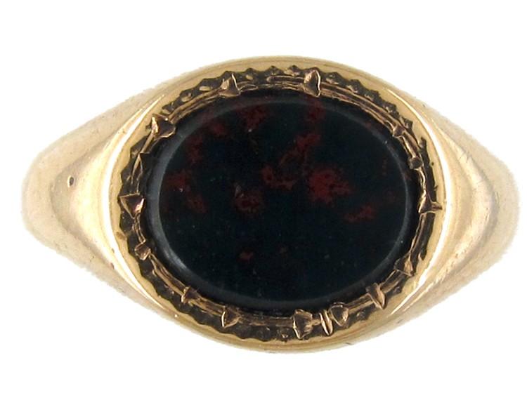 Oval Bloodstone Signet Ring