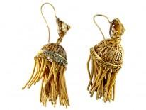 French Silver Gilt Large Tassle Earrings