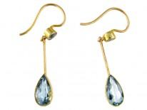 Aquamarine 15ct Gold Drop Earrings