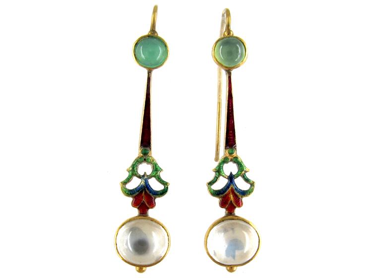 Gold Jubilee Enamel Moonstone & Chrysoprase Drop Earrings