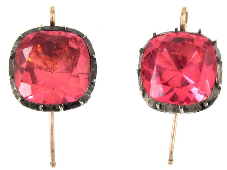Georgian Pink Paste Earrings