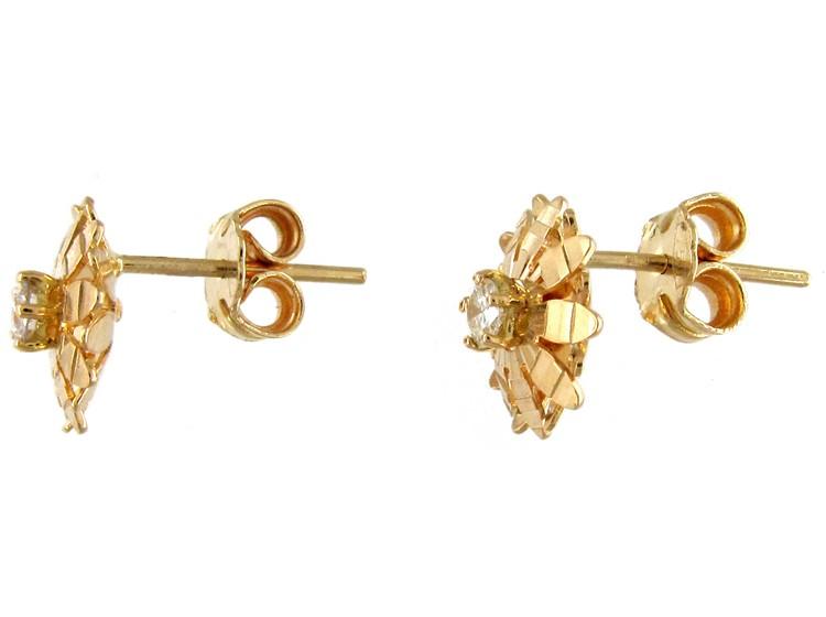 Diamond & 18ct Gold Flower Earrings