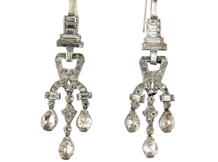Large Art Deco Silver & Paste Drop Earrings
