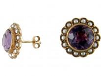 Amethyst & Natural Pearl Cluster Earrings