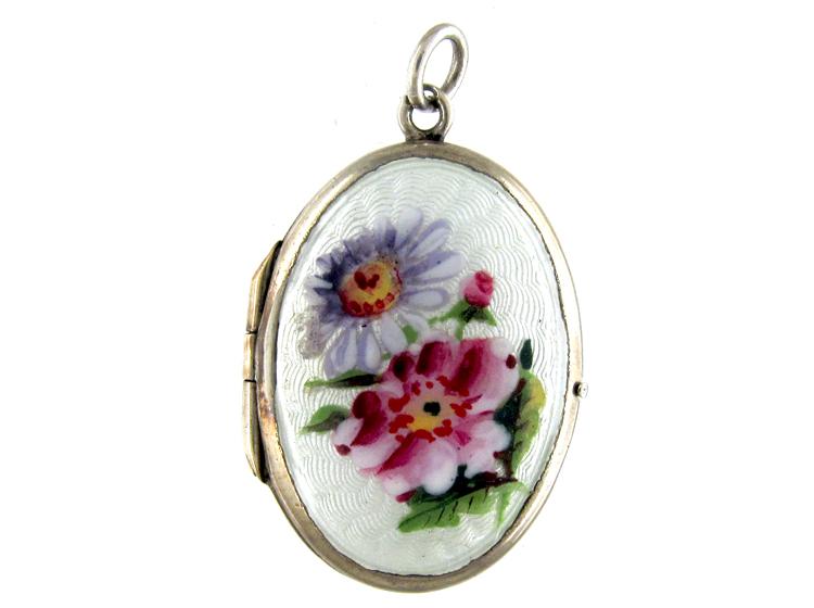 Edwardian Silver & Enamel Flowers Locket