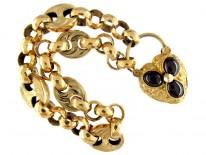 Gold Regency Bracelet with A Garnet Set Padlock