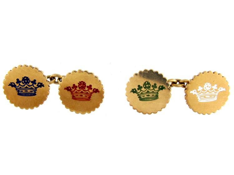 18ct Gold & Enamel Victorian Crown Cufflinks