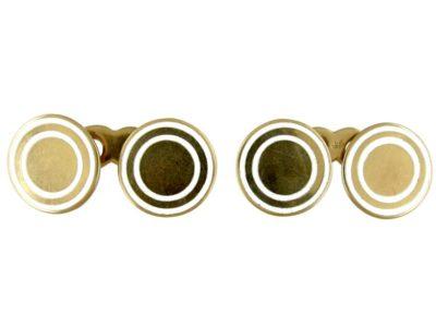 14ct Gold & White Enamel Cufflinks
