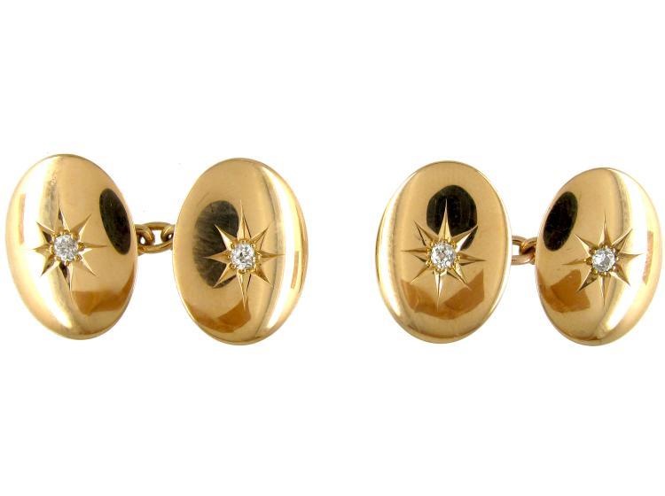 18ct Gold Diamond Set Victorian Cufflinks