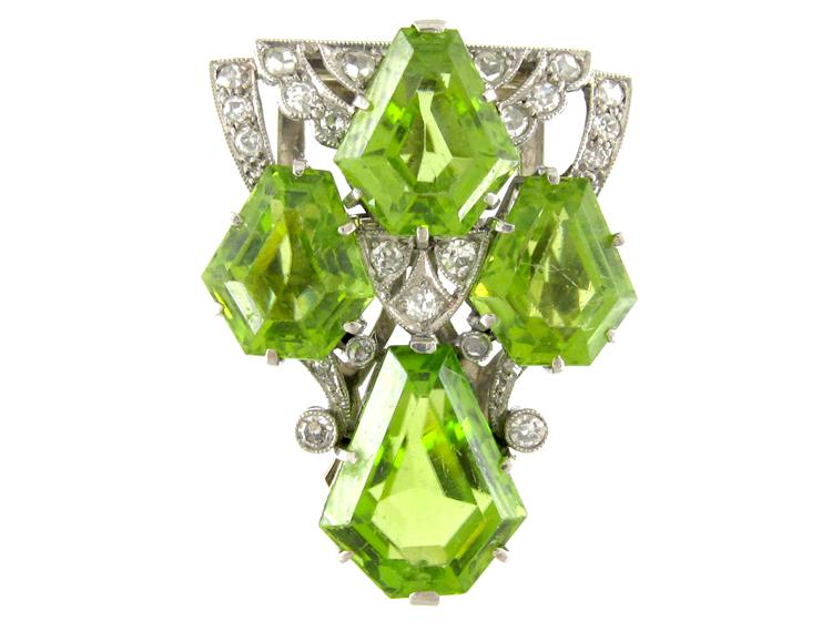 Art Deco Peridot & Diamond Clip