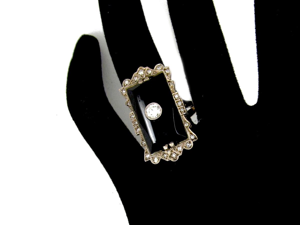 Large Onyx & Diamond Art Deco Ring