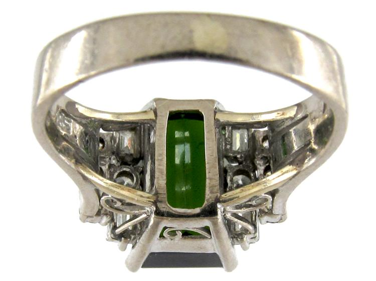 Green Tourmaline & Diamond Retro Ring