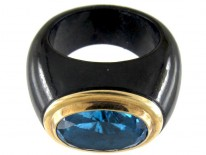 Blue Topaz & Onyx Gold Ring