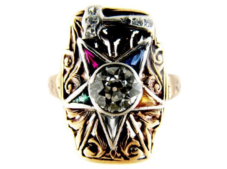 Gold Masonic Gemstone Ring - The Antique Jewellery Company