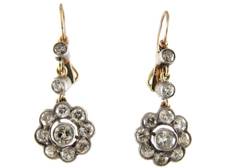 Edwardian Diamond Drop Cluster Earrings