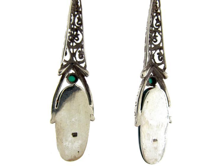 Art Deco Silver & Chalcedony Long Drop Earrings