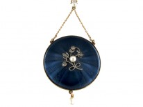 Gold Enamel & Pearl Round Pendant on Chain
