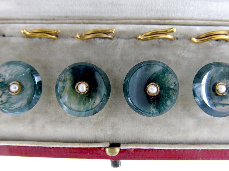 Set of Six Moss Agate & Gold Victorian Buttons