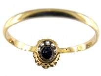Sapphire & Diamond Small Cluster Edwardian Ring