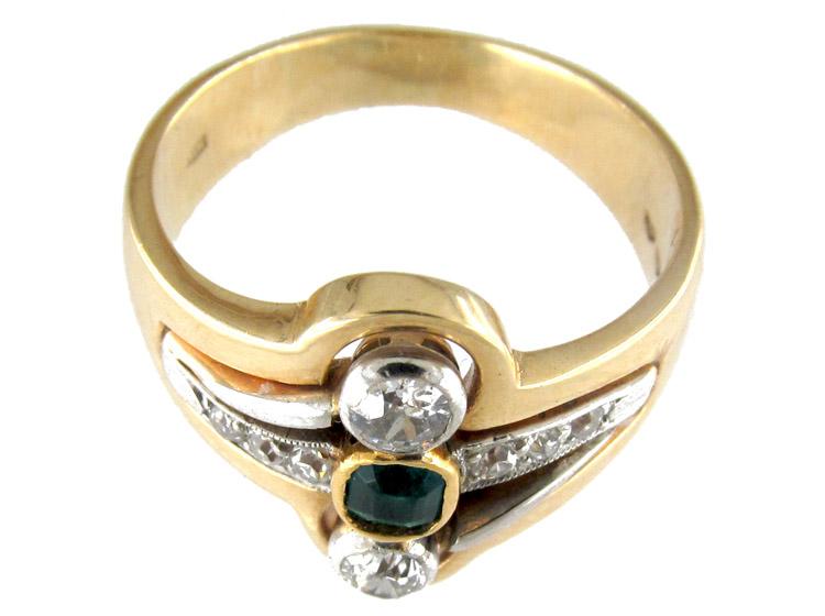 Art Nouveau Emerald & Diamond Ring