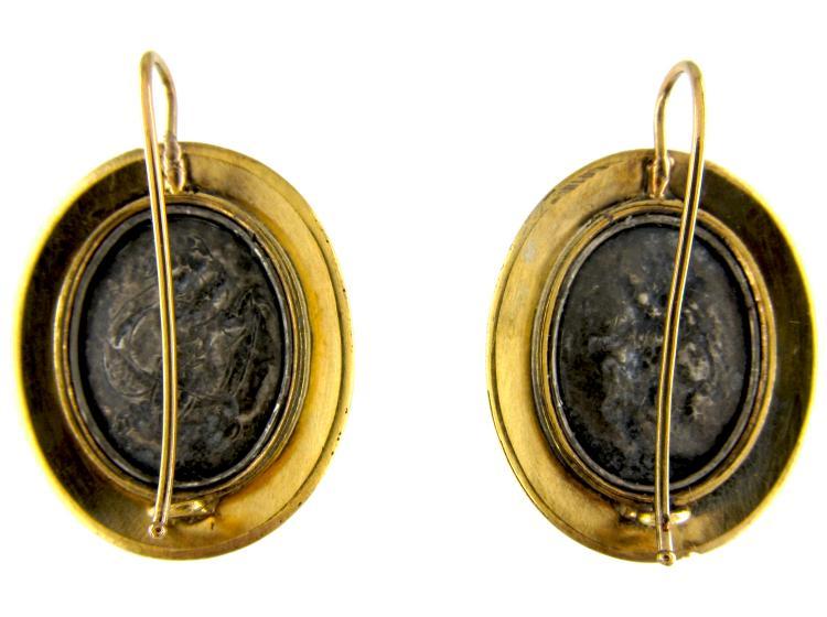 French Gold & Silver Cherub Earrings