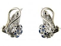 Burma Sapphire & Diamond Art Deco Clip-On Earrings